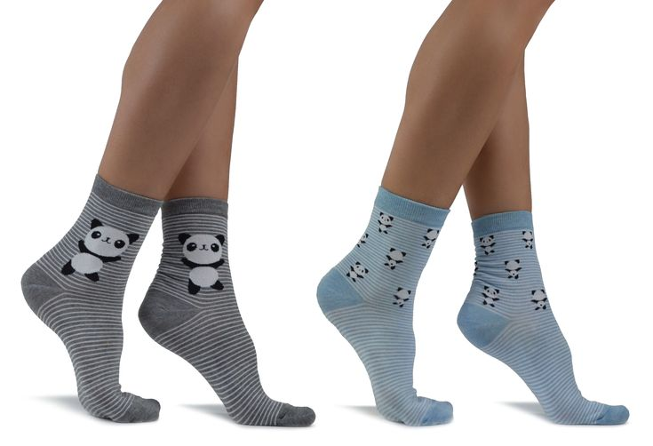 Women's Grey/Blue Panda Socks with Stripes 2 Pairs