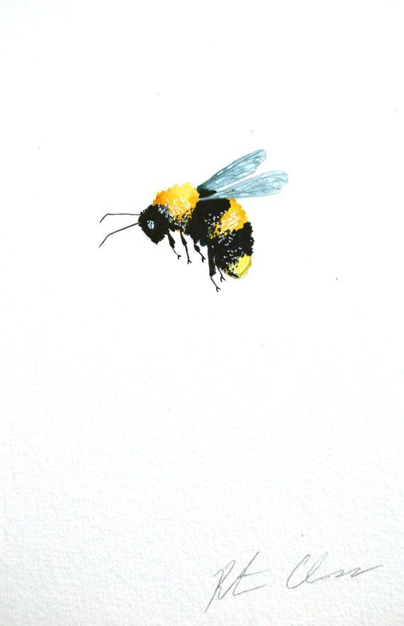 Watercolor Painting Bumble Bee Original Painting 6x9 by WoodPigeon, $20.00