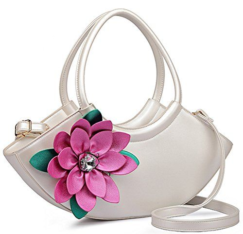 Skyseen Women S Pu Leather Purse Crescent Shaped 3d Flower Tote