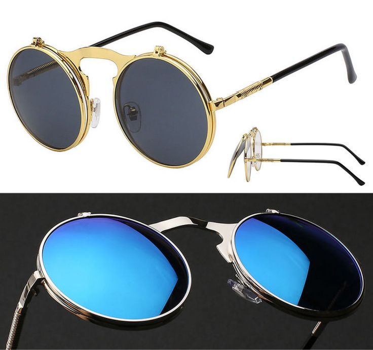 FLIP UP SUNGLASSES Steampunk Style for Fashion Enthusiasts Vintage Victorian  #Round