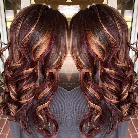brunette-hair-color-with-burnished-blonde-highlights-curly-long-hairstyles-2017