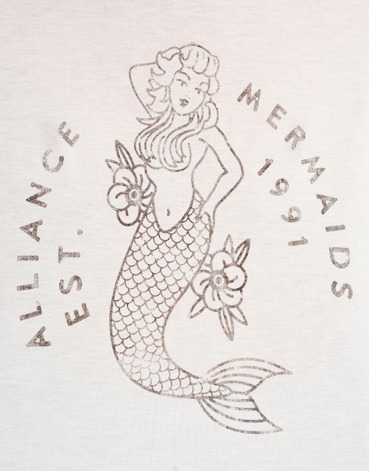 T-shirt met print zeemeermin - T-shirts - Kleding - Dames - PULL&BEAR Netherlands