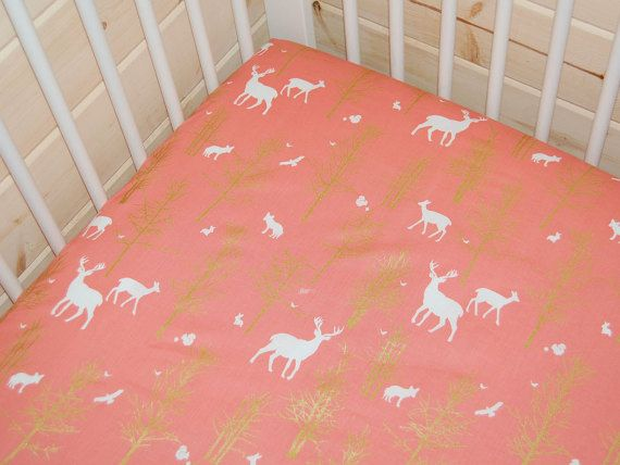 coral baby bedding coral crib sheet deer by LittleNecessities