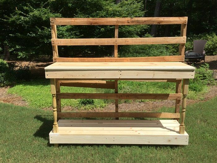 The process - Made from a pallet - outdoor potting table serves as buffet or drink service area