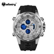 INFANTRY Mens Quartz-watch Sports Luminous LCD Digital Military Watch Rubber Strap Sports Male Clock Relogio Masculino 2016(Hong Kong)