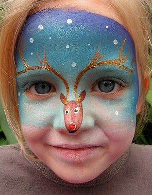 What a fantastic idea for a kid's face painting! Children will adore running around at Christmas with Rudolph on their nose.  How cute is this?  Wish I had a little grand baby to paint this on. c