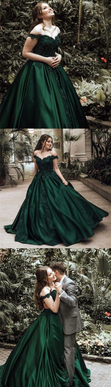 Dark green ball gown