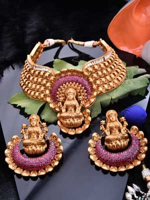 Temple Wear Jewelry Set with Antique Finish... ideas by: #covaiweddingshoppers