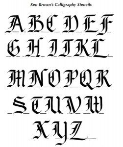 engraving letter templates - ken brown calligraphy engraving stencil pattern page 1