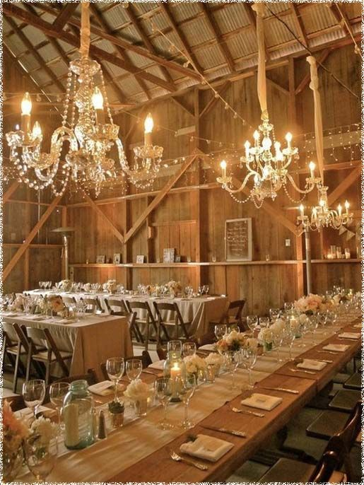 elegant #Rustic #wedding themes love the chandeliers