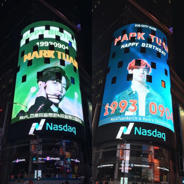 ;; Mark's birthday LED banners @ New York Times Square. ( this is by his Chinese fans 💚 ) . #갓세븐 #FLIGHTLOGARRIVAL #NeverEver #GOT7 #IGOT7