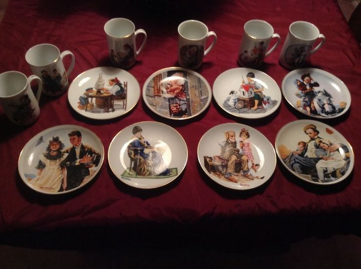 Norman Rockwell Collector s Plates & Mugs, Museum & IMM, 14 Pieces!
