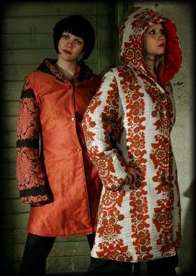 Upcycled jackets made from some seventies curtains by yanay.