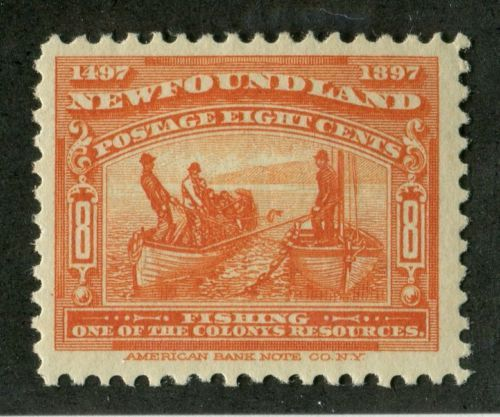 Newfoundland-67-8c-Orange-Fishing-1897-John-Cabot-Issue-F-70-OG