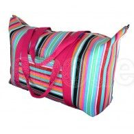 Beach Bag Extra Big Bright Cotton Canvas Stripes Pink MIAMI