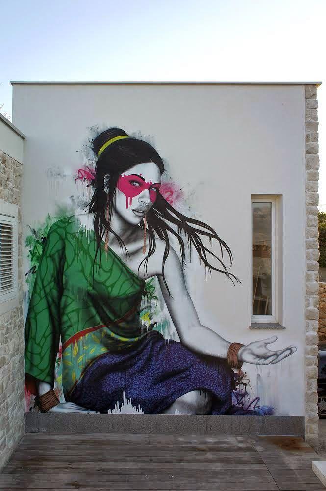 "Fin DAC paints ""Koibito"", a new piece in Ražanac, Croatia   Street Art   Street Artists   Art   urban art   urban artists   modern art   mural   graffiti   travel   Schomp MINI"