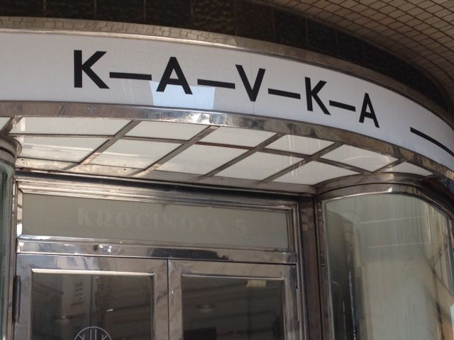 A KAVKA store front at Krocinova street, just few steps from the famous SLAVIA Cafe.