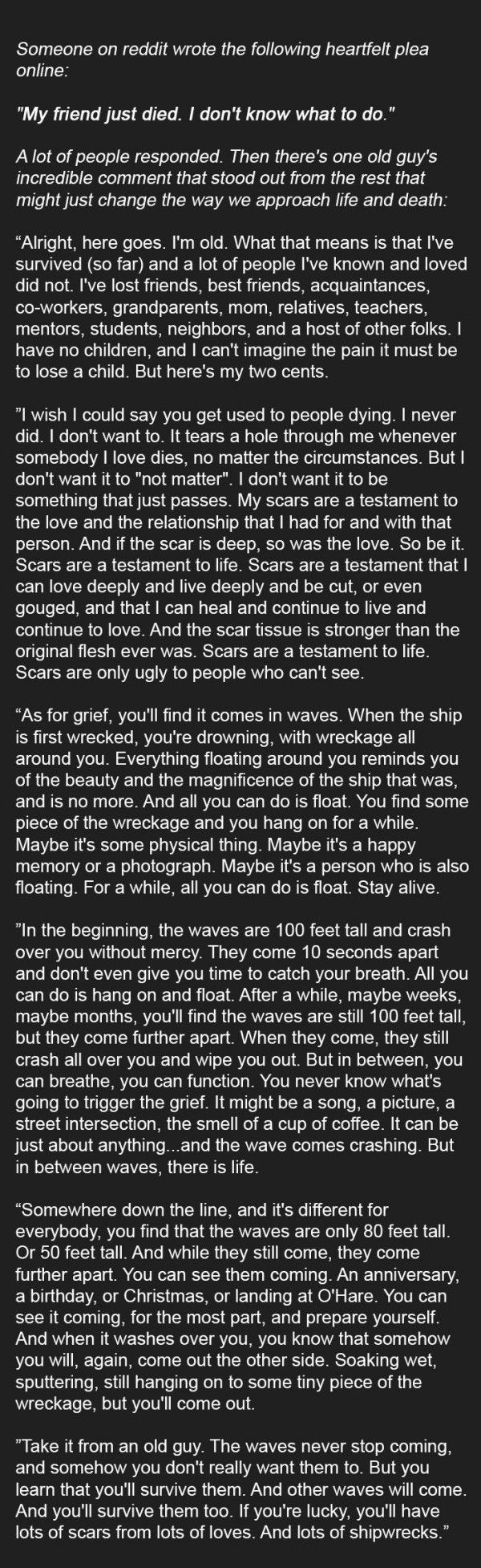 Person Asks Online For Advice On How To Deal With Grief. This Reply Is Incredible. | That Eric Alper