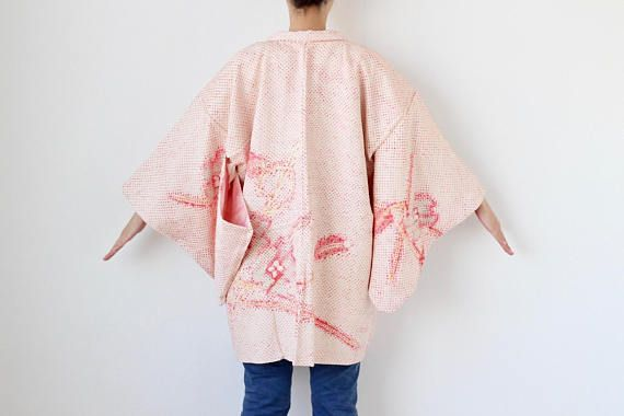 HAORI  SHIBORI  Vintage  Japanese Silk Haori  Kimono Jacket  Hand Tiedyed  Boho Boho Clothing  Japanese Kimono Jacket  Gift for Her