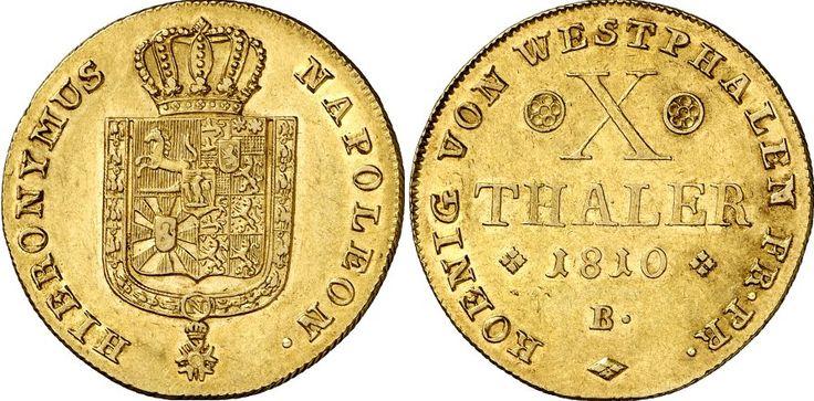 AV 10 Taler, Germany Coins, Westphalia. Hyeronymus Napoleon 1807-1813. 1810, Brunswick mint. 13,28g. F 3511. Nearly EF. Price realized 2011: 3.250 USD.