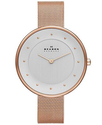 Skagen Denmark Women's Gitte Rose Gold-Tone Stainless Steel Mesh Bracelet Watch 38mm SKW2142 - Women's Watches - Jewelry & Watches - Macy's ...