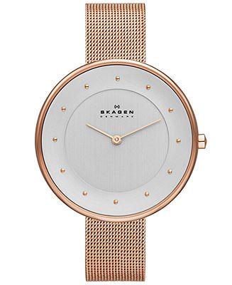 Skagen Denmark Women's Gitte Rose Gold-Tone Stainless Steel Mesh Bracelet Watch 38mm SKW2142 - Women's Watches - Jewelry & Watches - Macy's ...
