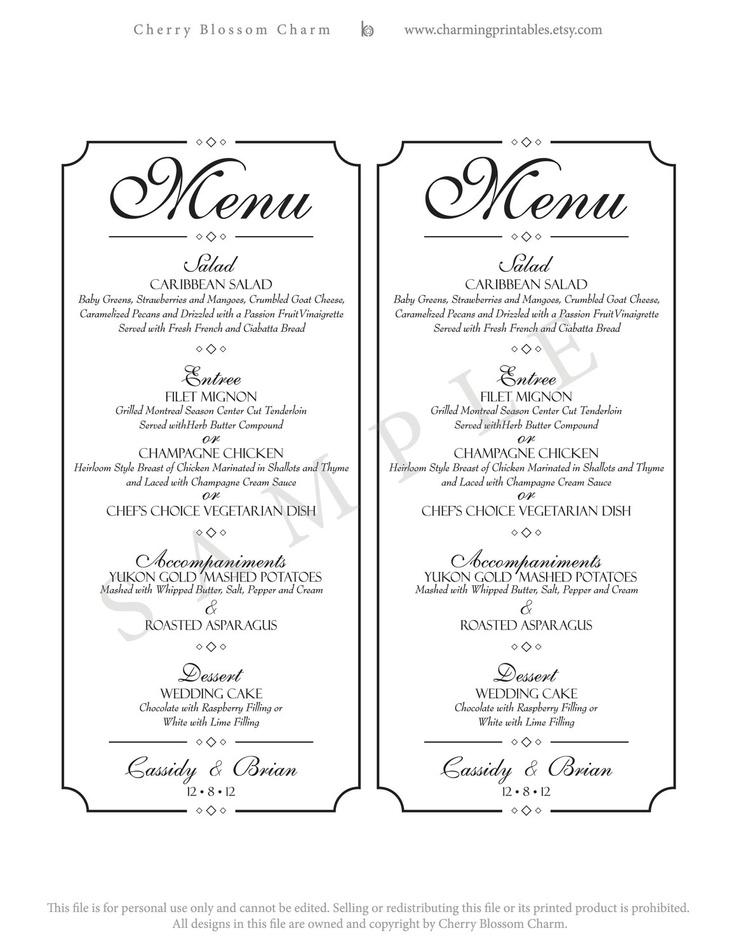 Wedding Menu Printable Diy Digital File Custom Clic Collection
