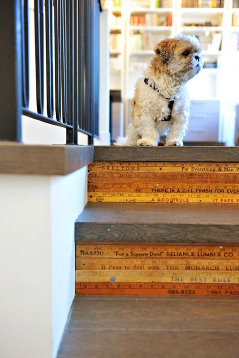 Such a neat use of vintage rulers / yardsticks -- used on stair risers. #DIY inspiration. Bonus: Cute dog.