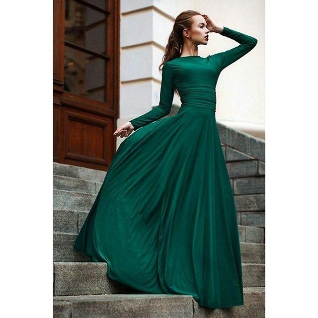 IMH096 Vestido De Noite Longo Robe De Soiree 2015 Dark Green Evening Dresses…