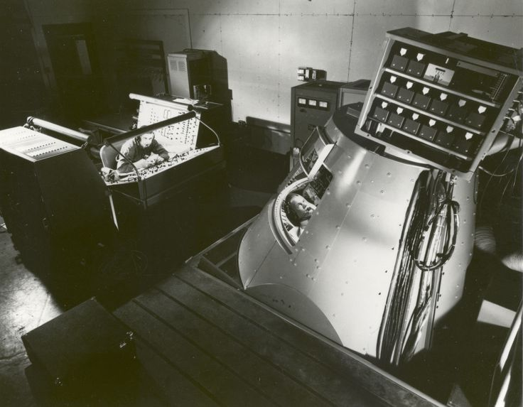 John Glenn in the Mercury Procedures Trainer