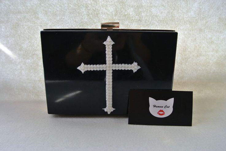 Handmade Small Clear Black Cross Gothic Pop Art with faux pearl, Plastic, acrylic perspex transparent box clutch, evening bag, shoulder bag  #humancat #handmade #clutch