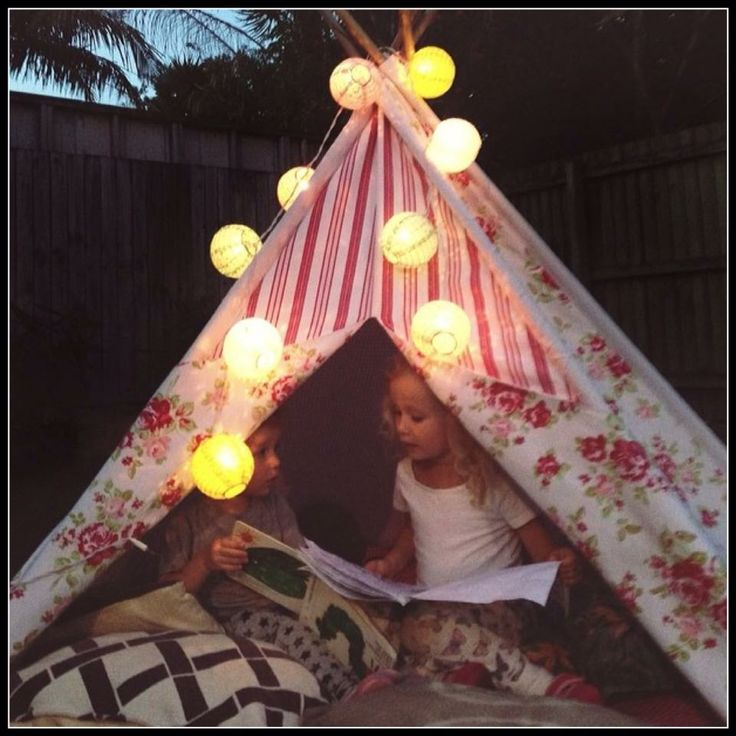 Kids having a sleepover in their Mocka Girly Girl Teepee. So much fun! Photo taken by Busy Little Kids.