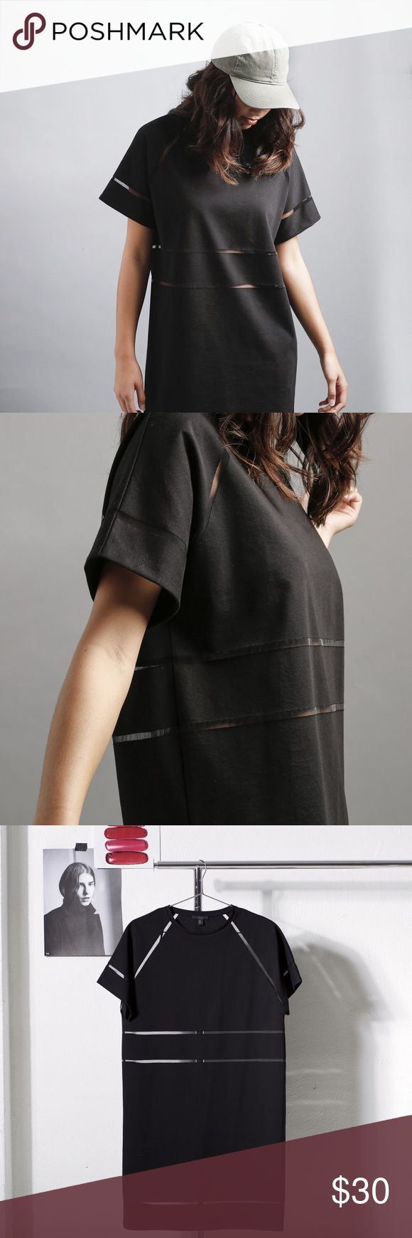 COS Black T-Shirt Dress Wear this black COS T-Shirt dress with mesh cut outs all year around! Dress this look up or down & look cool either way! Hope you love it as much as we do! -xo COS Dresses