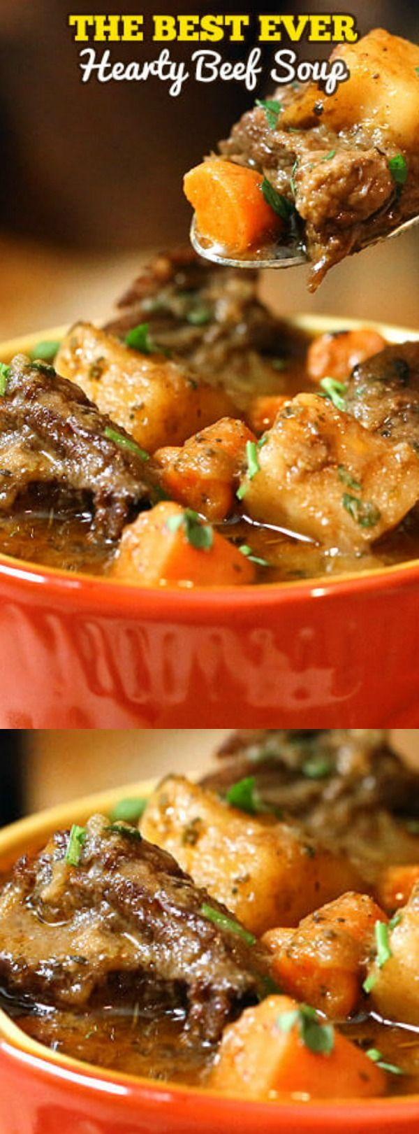 This Hearty Beef Soup Recipe from The Slow Roasted Italian has tender chunks of beef that will melt in your mouth! It is so incredibly rich and is loaded with vegetables making it the perfect chilly night comfort food.