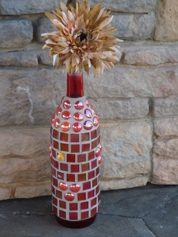 Mosaic Wine Bottle  Iridescent Red Tiles Burnt by MosaicsbyMadonna, $40.00