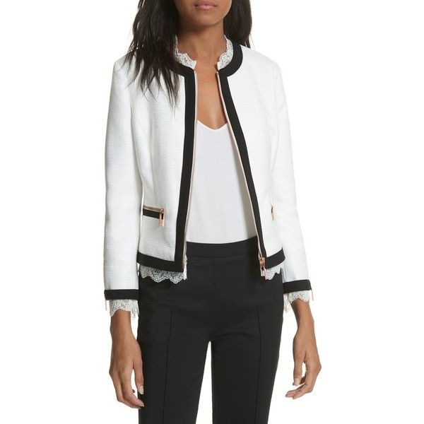 Women's Ted Baker London Lace Trim Crop Jacket (505 AUD) ❤ liked on Polyvore featuring outerwear, jackets, white, pleated jacket, ted baker jacket, white tweed jacket, white jacket and white cropped jacket