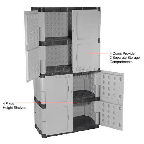 Rubbermaid 7083 Plastic Storage Cabinet Full Double Door 36 W X
