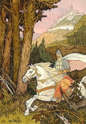 Pavel Orinyansky. (Contemporary, not Ivan Bilibin, but looks to probably be influenced a bit by him and other art nouveau artists.  Beautiful style.)