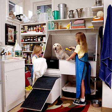 A dog-washing station would be an absolute dream-come-true!  I especially like how this one is raised so you can bathe your dog more comfortably.
