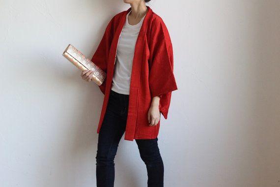Hey, I found this really awesome Etsy listing at https://www.etsy.com/listing/488001898/red-kimono-jacket-japanese-kimono-haori