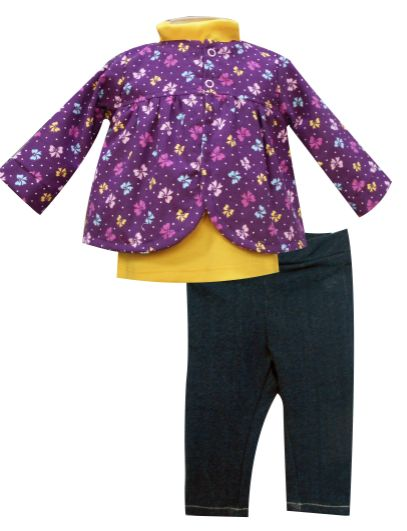Saco manga larga con canesú, playera manga larga cuello alto y leggings tipo mezclilla. Tallas 3, 6, 12 y 18 meses.
