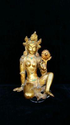 Tara Verde Antica statua in rame dorato Altezza cm. 18