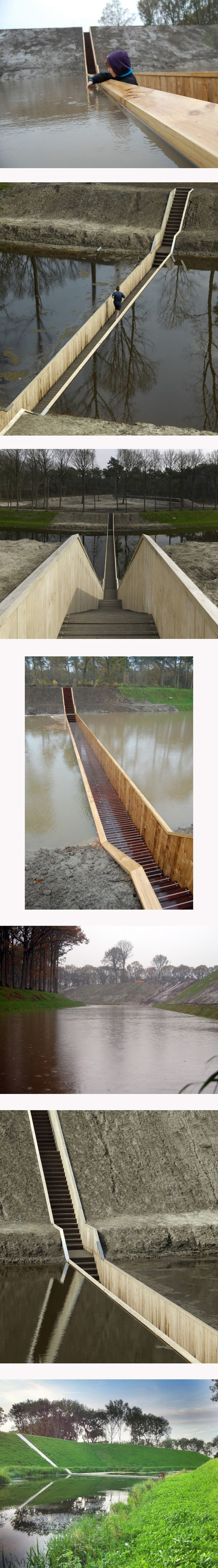 Moses Bridge / RO Architecten    Architects: RO Architecten  Location: Halsteren, The Netherlands  Client: Municipality of Bergen op Zoom  Material used: Accoya wood  Project Area: 50 sqm  Photographs: Courtesy of RO Architecten    http://www.archdaily.com/184921/moses-bridge-road-architecten/