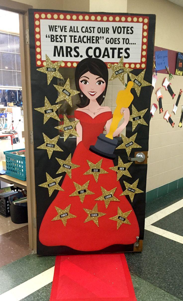 Teacher Appreciation for Catholic Schools Week.  Hollywood/Red Carpet Theme.  Classroom Door Decoration Design