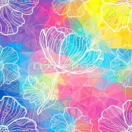 Радуга треугольников с белым каракули цветы — стоковая иллюстрация #26606109