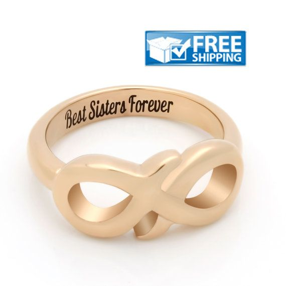 "#Sister #Gift - #Delicate #Infinity Ring Engraved on Inside with ""Best Sisters Forever"", Sizes 6 to 9"