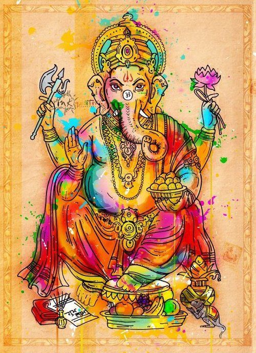 Lord Ganesha Art~ (blocker of obstacles on your life-path) MORE ACCURATE PICTURE -AX, ROPE,GIFT ETC.