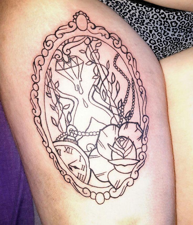#tattoo#specchio#clessidra#rosa