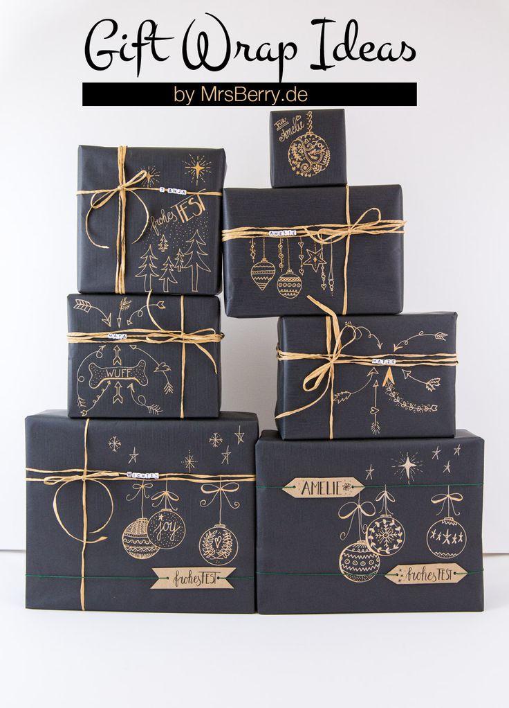 5 tolle Ideen, Geschenke zu verpacken - mit einfachen Materialien wie Kraftpapier, Washi Tape und Gelschreiber.  Mehr gibt's auf MrsBerry.de