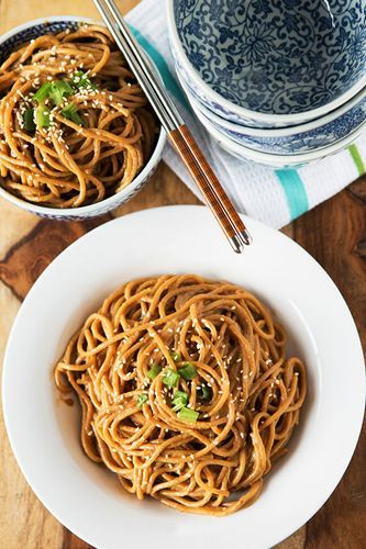 Spicy Peanut Sesame Noodles http://www.epicurious.com/recipes/food/views/Spicy-Sesame-Noodles-with-Chopped-Peanuts-and-Thai-Basil-238798